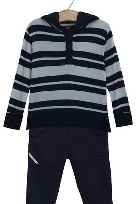 Boys Hooded Neck Striped Tee and Solid Pants