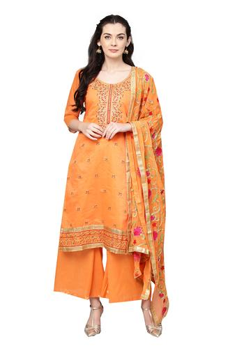 ISHIN Womens Embroidered Unstitched Salwar Suit Dress Material with Dupatta