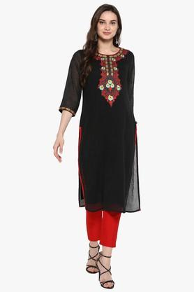 JUNIPERWomens Crepe Embroidered Tiered Anarkali Kurta With Coin Embellishments