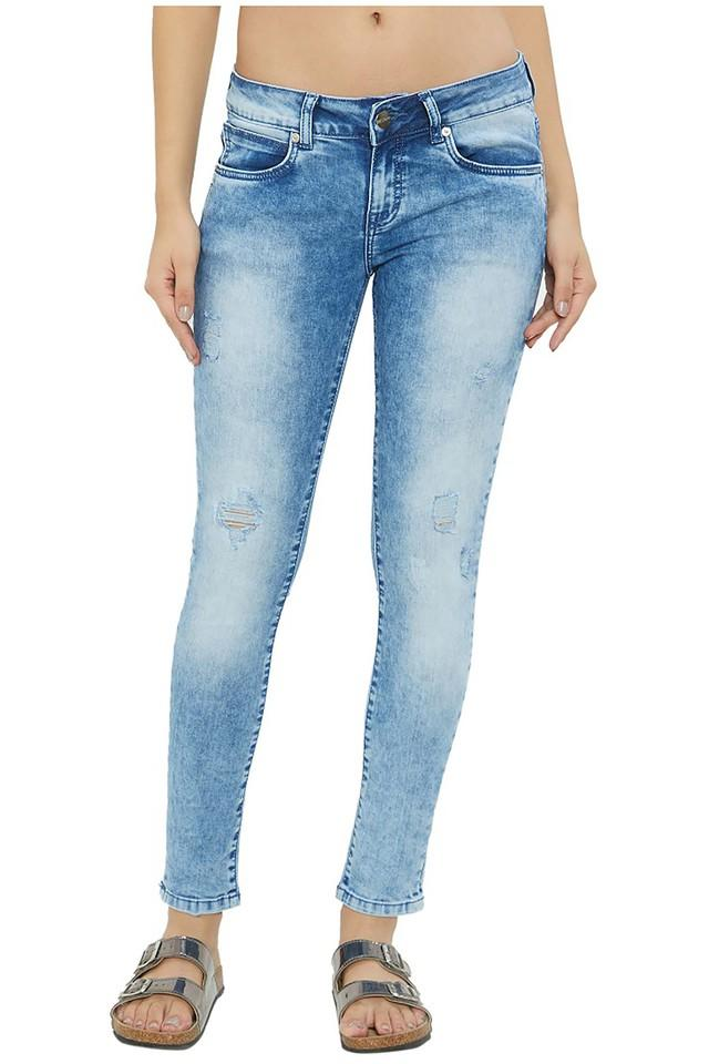 Womens Skinny Fit Acid Wash Jeans