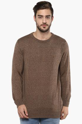 ALLEN SOLLY Mens Round Neck Slub Sweater