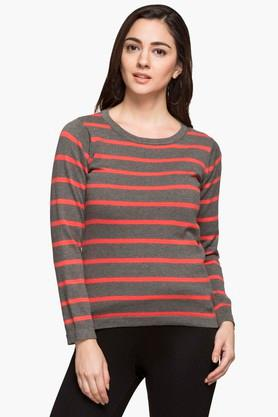 STOP Womens Round Neck Stripe Sweater - 203365059