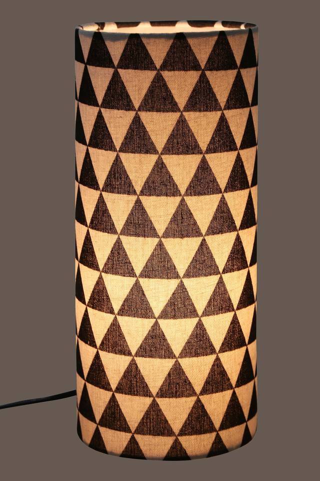 Round Geometric Print Table Lamp - 30 cms