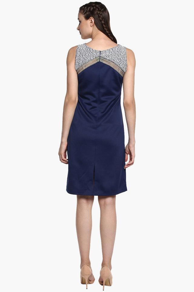 Womens Round Neck Self-pattern Bodycon Dress