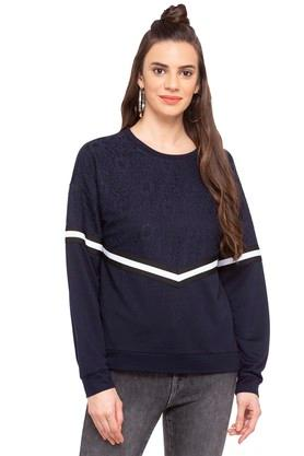 ONLY Womens Round Neck Lace Sweater