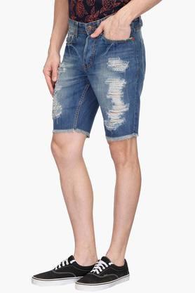 Mens 5 Pocket Heavy Wash Distressed Shorts
