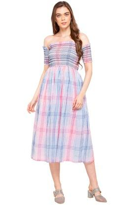 Womens Off Shoulder Neck Checked Flared Dress