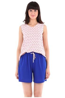 Womens V-Neck Printed Top and Solid Shorts Set