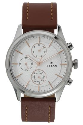 Mens White Dial Leather Multi-Function Watch - 1805SL01
