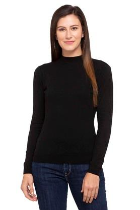 DEAL JEANS Womens High Neck Solid Sweater