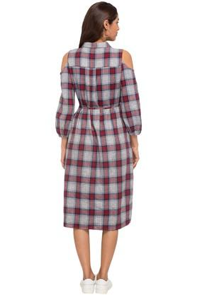 Womens Collared Check Shirt Dress