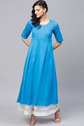 Womens Round Neck Solid Kurta
