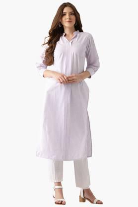 LIBASWomens Cotton Stripes Front Pocket Straight Kurta