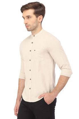 Mens Mandarin Collar Slub Shirt