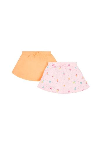 Girls Printed and Solid Skirts - Pack Of 2