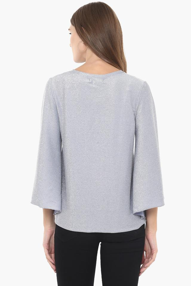 Womens Round Neck Shimmer Top
