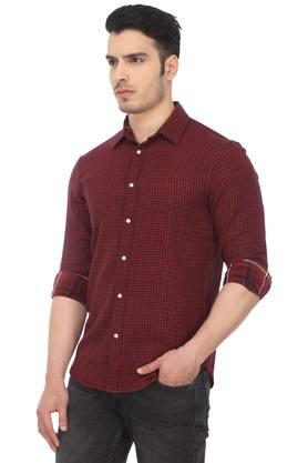 Mens Straight Fit Checked Casual Shirt