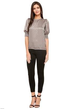 Womens Band Neck Self Pattern Top