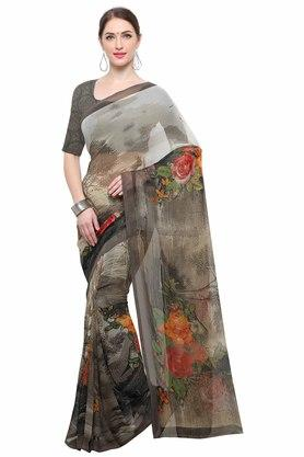 RACHNA Womens Color Georgette Printed Saree With Blouse - 204088373_7086