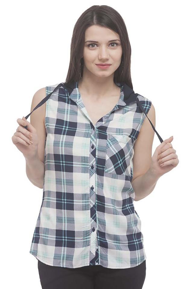 Womens Hooded Neck Check Shirt