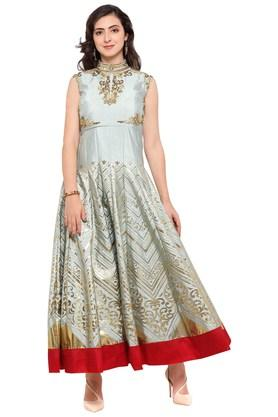 VRITIKA Womens Banglori Silk Semi-stitched Gown - 204061870_9204