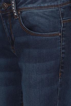 Girls 5 Pocket Heavy Wash Jeans