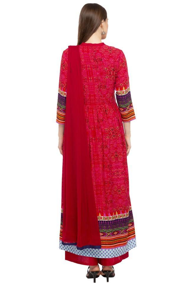 Womens Mandarin Collar Printed Palazzos Suit