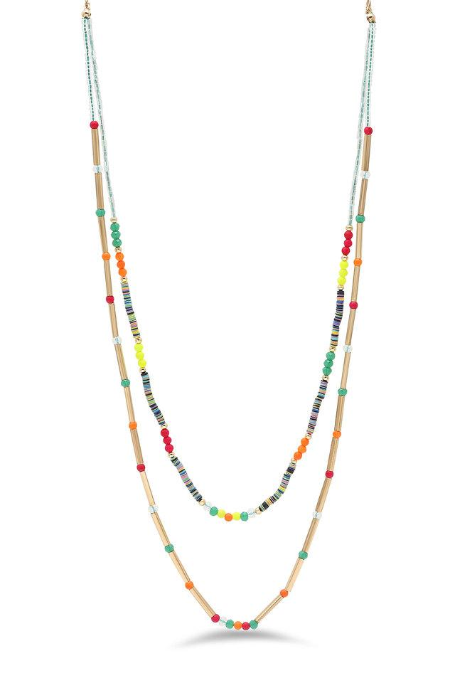 Womens Beads Layered Necklace