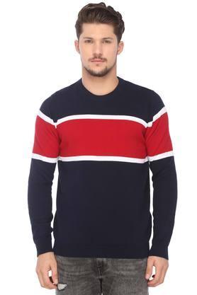 CELIOMens Round Neck Colour Block Sweater