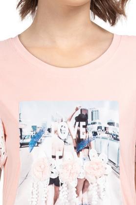 Womens Round Neck Applique T-Shirt