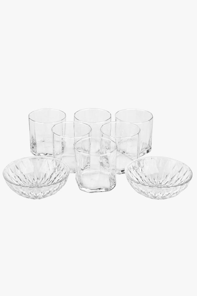 Round Transparent Whiskey Glass and Bowl Set of 8