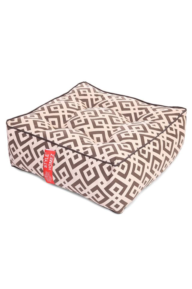 Canvas Geometric Printed Square Floor Cushion Large Size with Filling