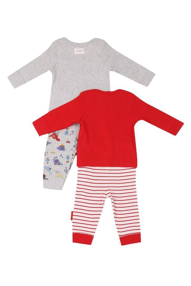 Boys Envelope Neck Printed Pants and Tee - Pack Of 2