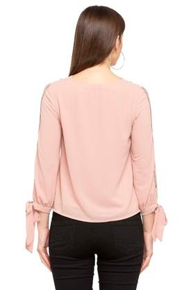 Womens Round Neck Solid Embellished Top