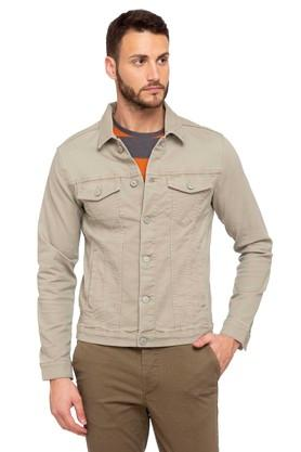 JACK AND JONESMens Collared Solid Jacket