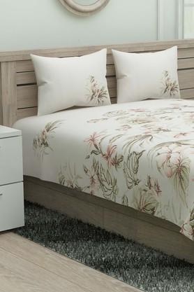 SPACES Floral Printed Single Bed Sheet With Pillow Cover