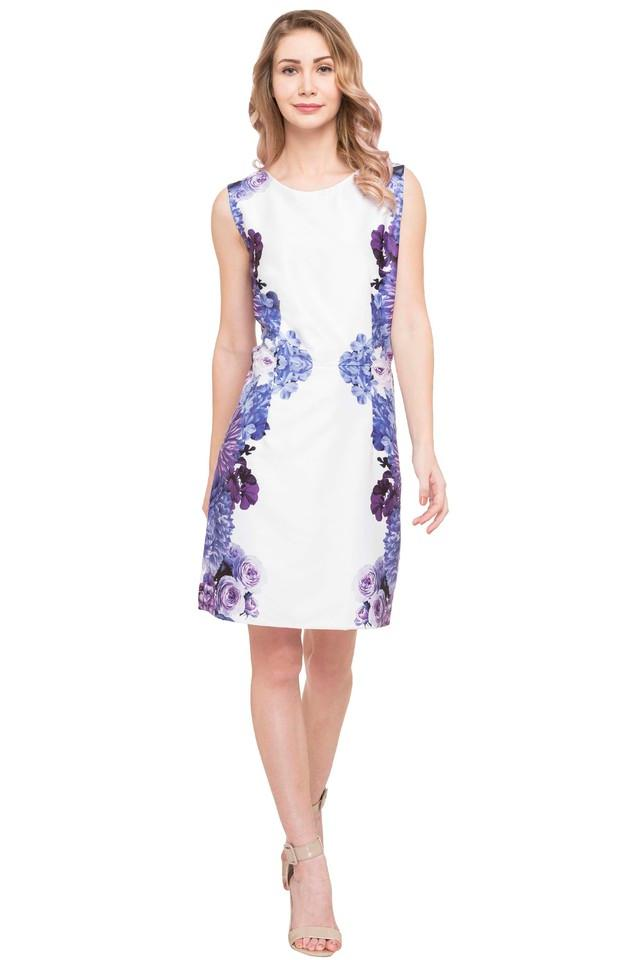 Womens Round Neck Printed Bodycon Dress