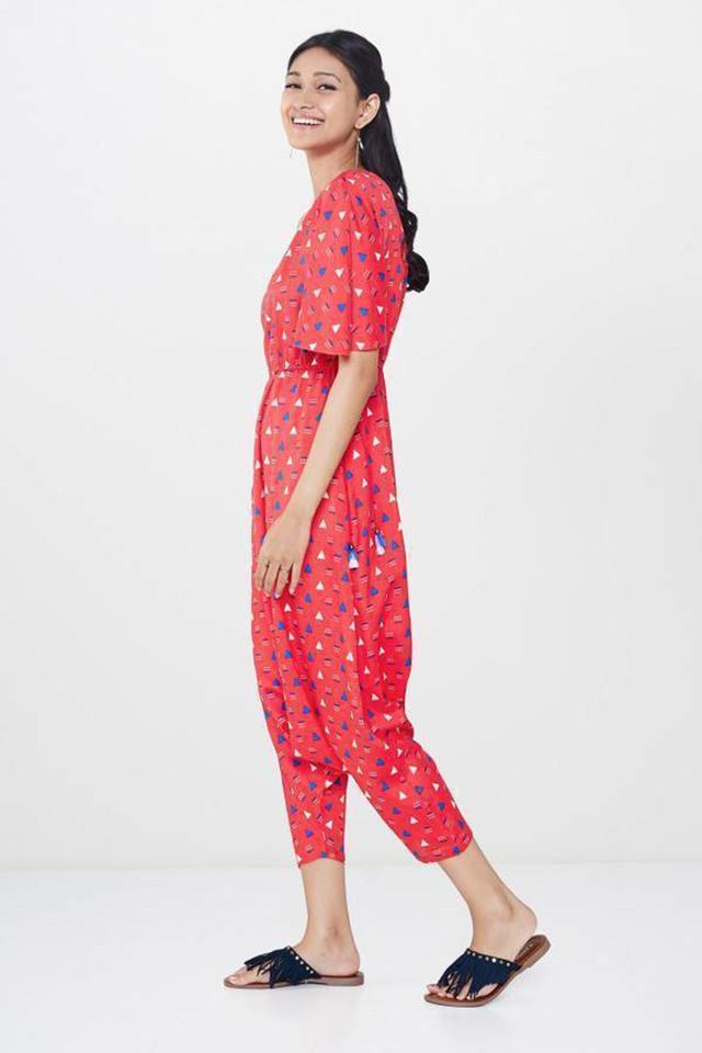 Womens One Shoulder Printed Jumpsuit