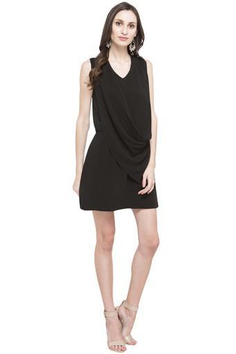 Womens V-Neck Solid Dress