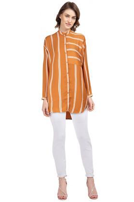Womens Mandarin Collar Stripe Shirt