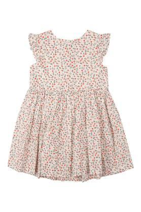 Girls Round Neck Printed Flared Dress