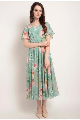 f0deec2b6a70 X RARE Womens Floral Print Calf Length Dress