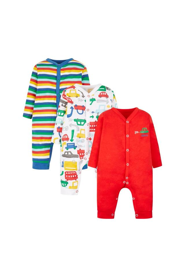 Boys V- Neck Striped and Printed Sleepsuits - Pack Of 3