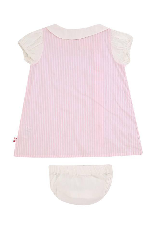 Girls Peter Pan Collar Stripe Dress and Briefs Set