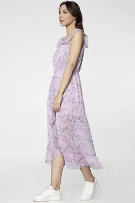 Womens Regular Fit Round Neck Printed Midi Dress
