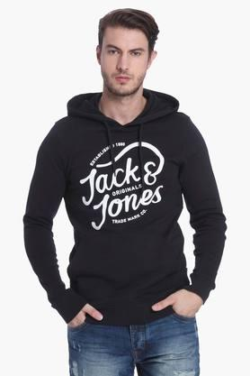 JACK AND JONES Mens Slim Fit Hooded Printed Sweatshirt