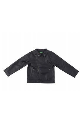 Boys Collared Solid Jacket