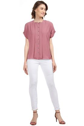 Womens Mandarin Collar Solid Pleated Shirt