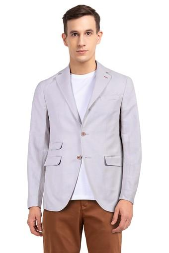 Mens Slim Fit Notched Lapel Slub Blazer