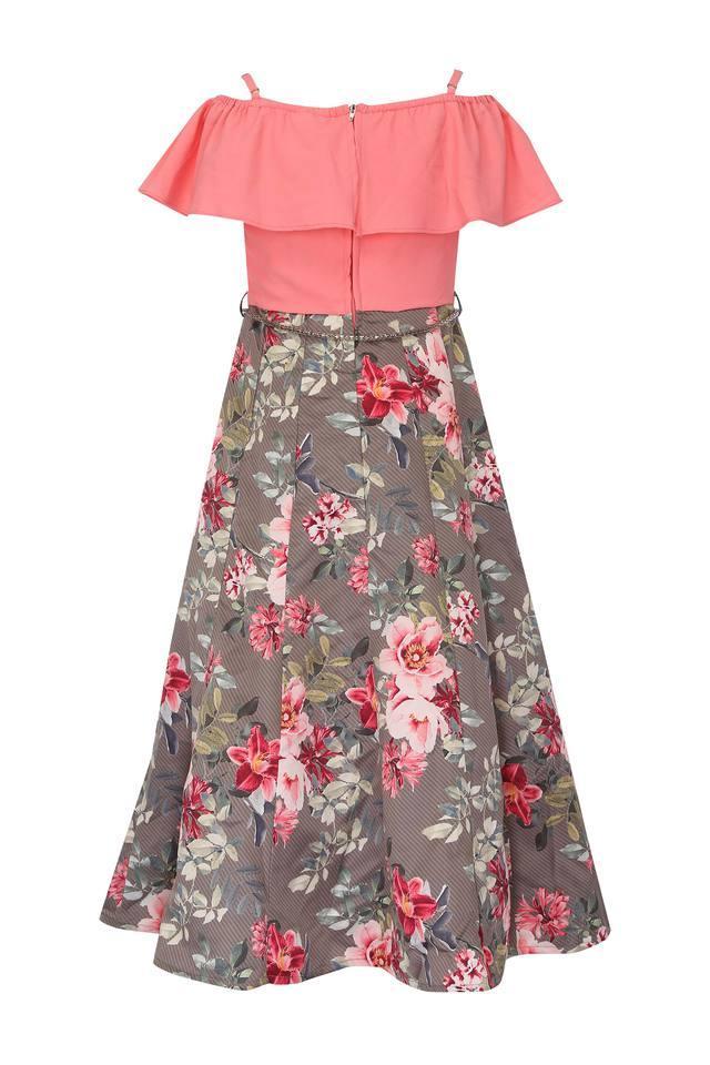 Girls Round Neck Floral Print Maxi Dress